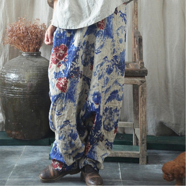 Cotton Linen Floral Printed Wide Leg Pants