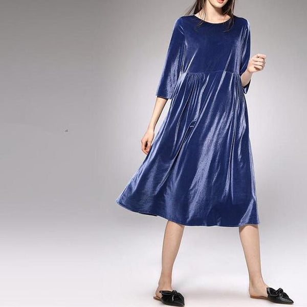 Knee Length Empire Waist Velvet Dress