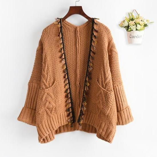 Tassel Trim Knit Cardigan Sweater