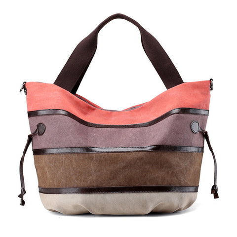 Striped Canvas Shoulder Tote