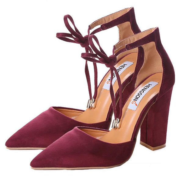 Pointed Suede Ankle Strap Pumps