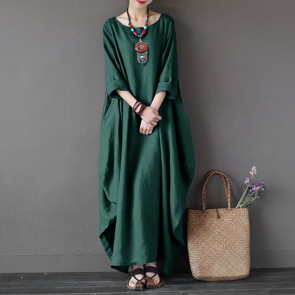 Full Length Wing Sleeve Cotton Bud Dress