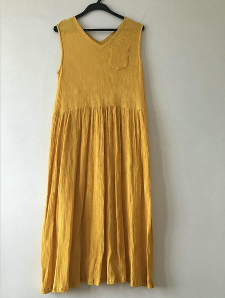 Sleeveless Pleated V-Neck Dress