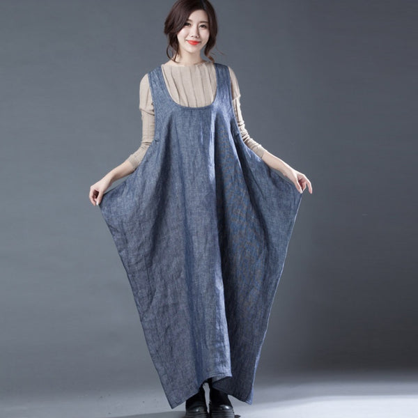 Cotton Linen Full Length Tank Dress