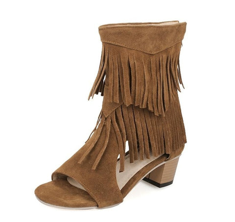 Peep Toe Tassel Ankle Zip Sandals