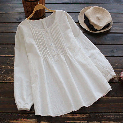 Pleated Cotton Button Front Shirt