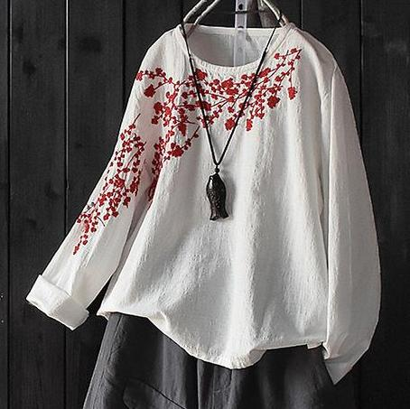 Floral Embroidered Cotton Linen Shirt