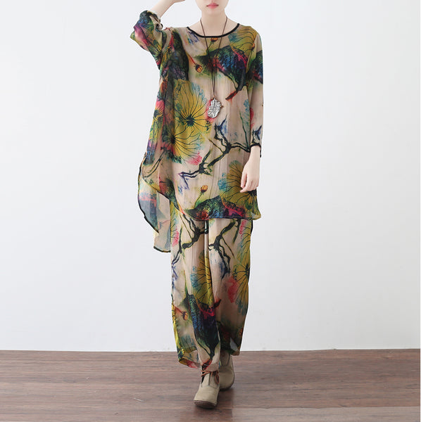 Abstract  Print Wide Leg Pantsuit