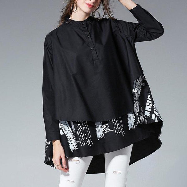 Print Tiered Tail Shirt
