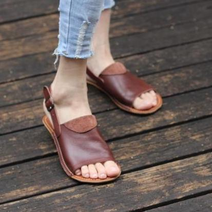 Leather Sandals Summer Flats