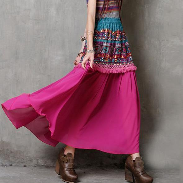 Ethnic Cotton Linen Teal Tassel Skirt