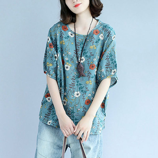Cotton Linen Print Summer Shirt