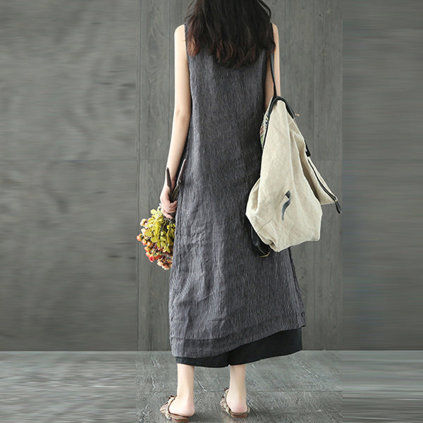 Sleeveless Crew Neck Shift Dress