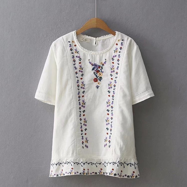 Lace Embroidered Cotton Linen Shirt