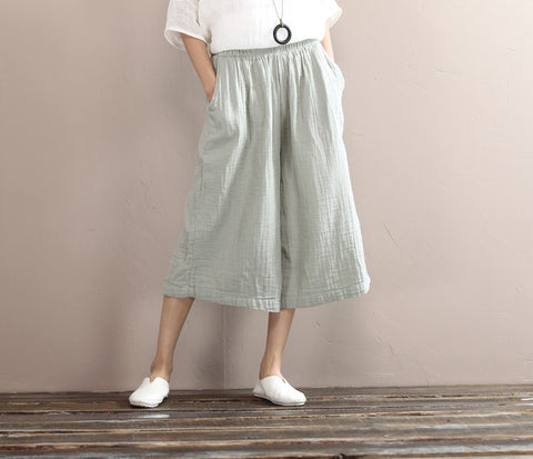 Cropped Wide Leg Capri Pants