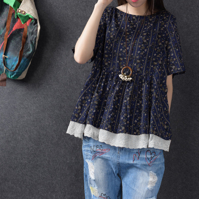 Floral Print Short Sleeve Lace Hem Shirt
