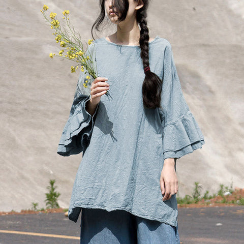 Butterfly Sleeve Summer Linen Shirts
