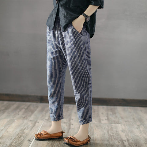 Cotton Linen Striped Pants