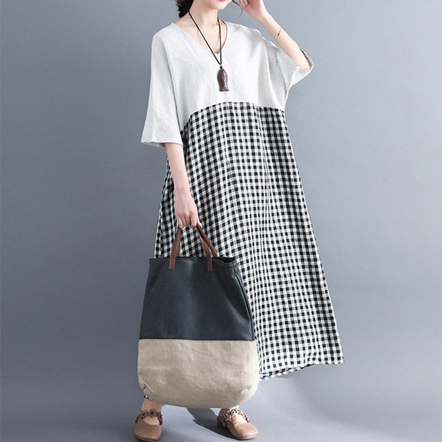 Gingham Check Patchwork Dress
