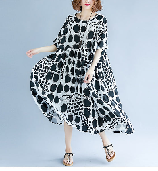 Mid Calf Length Dot Dress