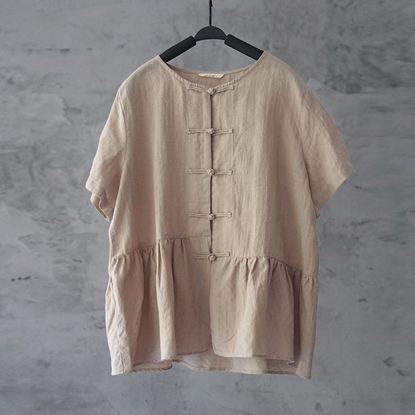 Cotton Ramie Ruffle Hem Shirt