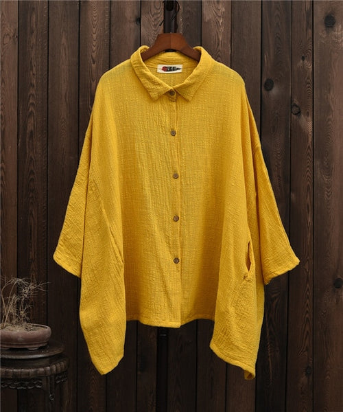 Turn Down Collar Wing Sleeve Shirt
