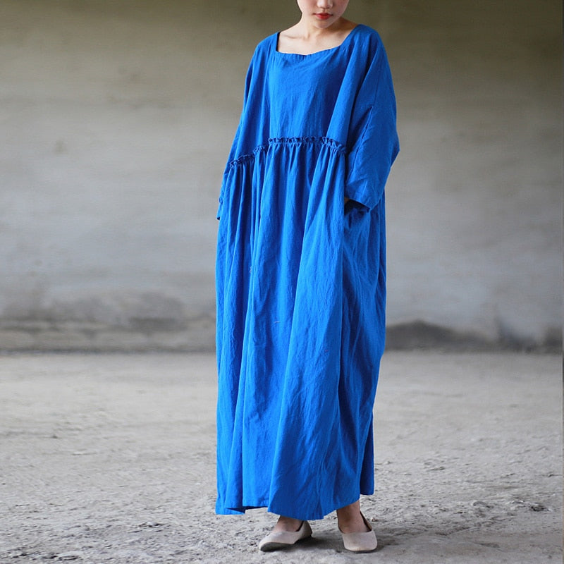 Cotton Linen Empire Waist Dress