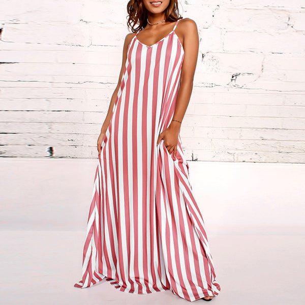 Striped Long Loose V Neck Sleeveless Dress