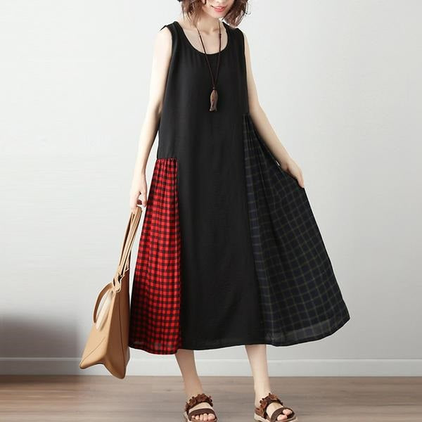 Sleeveless Plaid Panel Dress