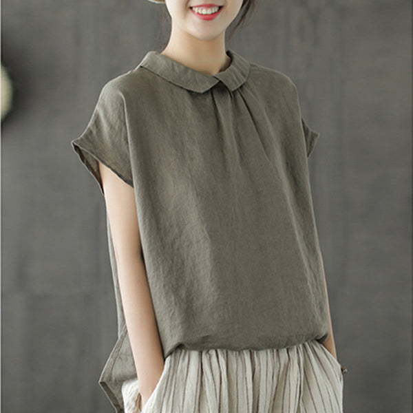 Linen Turn-down Collar Short Sleeve Shirt