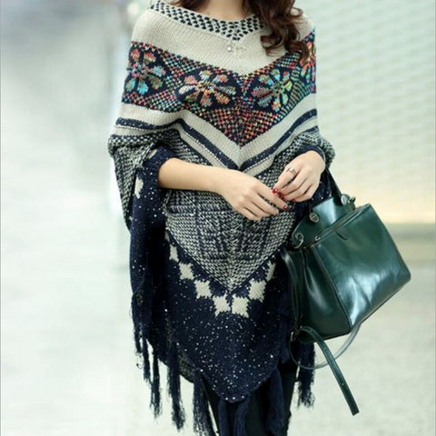 Sequined Pullover Sweater Cape