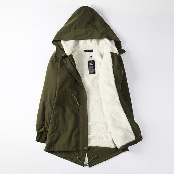 Warm 3/4 Length Hooded Winter Jacket