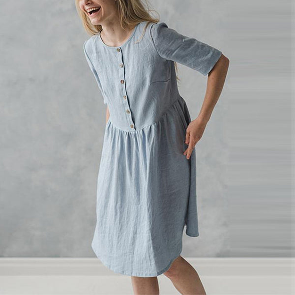 Short Sleeve Cotton Knee-length Dress