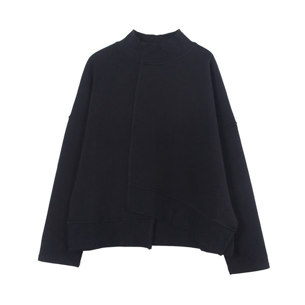High Collar Long Sleeve Asymmetric Hem Pullover Sweatshirt