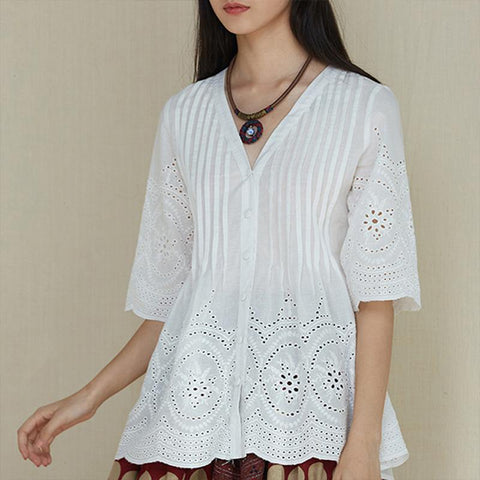Pleated Cotton V Neck Embroidered Linen Eyelet Shirt