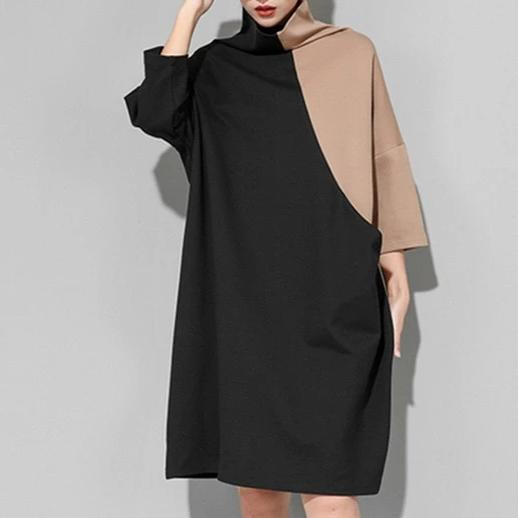High Collar Sweatshirt Dress