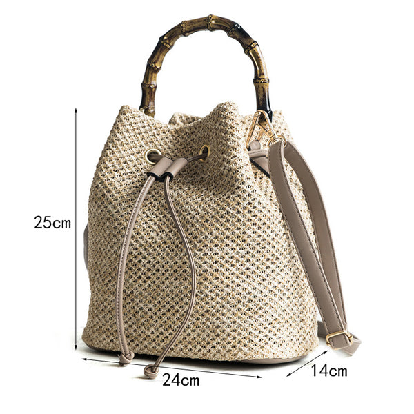 Straw Bucket Bamboo Handle Shoulder Bag