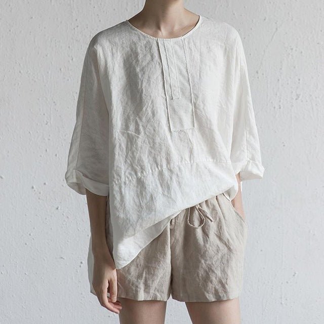 Cotton Linen Wing Sleeve Tunic