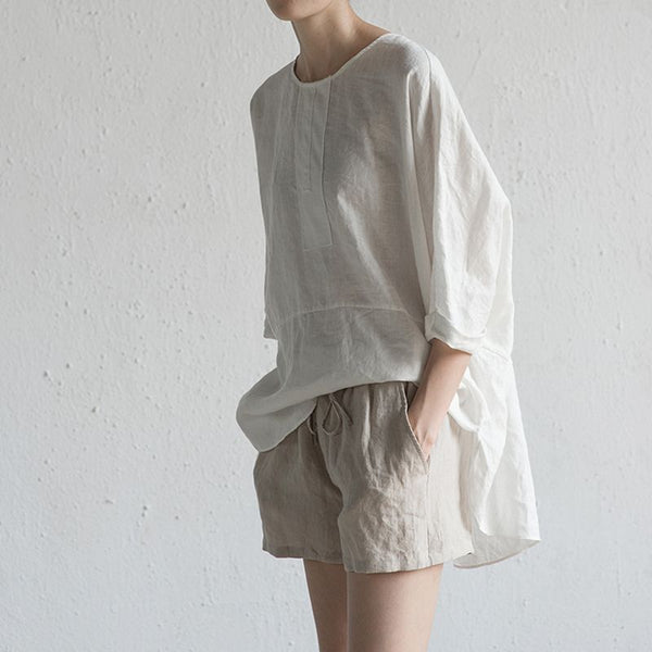 Wing Sleeve Button Back Cotton Shirt