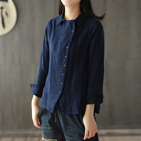 Cotton Turn-down Collar Button Front Shirt