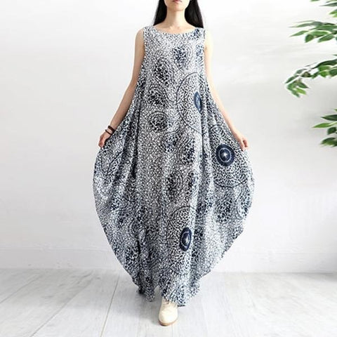 Floral Print Sleeveless Loose Fit Cotton Dress