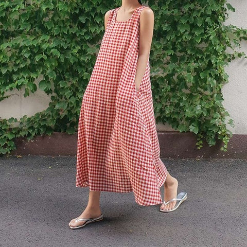 Gingham Check Sleeveless Dress