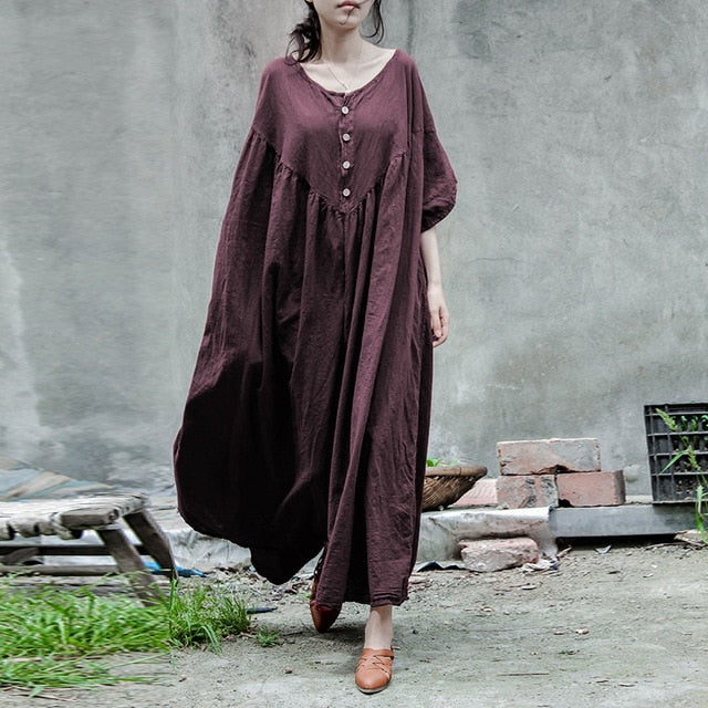 Cotton Linen Button Front Dress