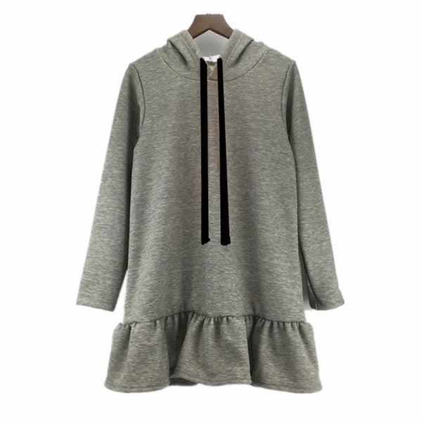 Long Sleeve Hooded Ruffle Hem Sweatshirt