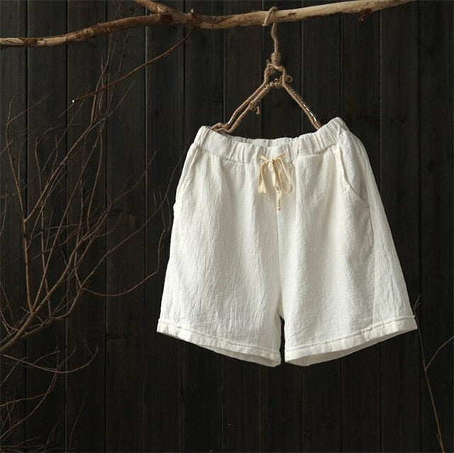 Solid Drawstring Cotton Linen Shorts