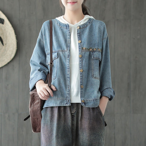Denim Button Front Embroidered Jacket