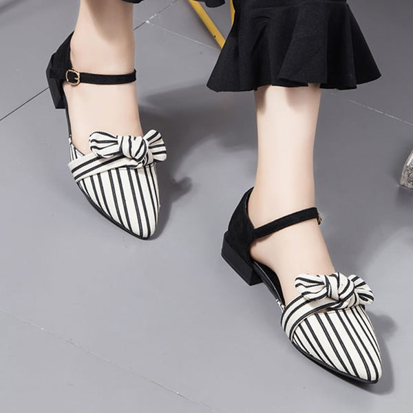 Pointed Toe Striped Bow Flat Sandals