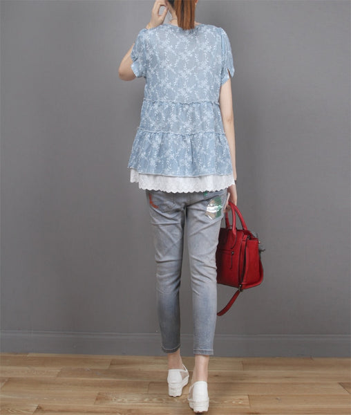 Summer Short Sleeve Floral Embroidered Cotton Linen Shirt