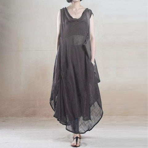Shear Full Length Asymmetrical Hem Dress