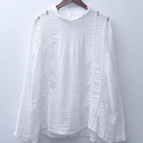 Ruffled Collar Long Sleeve Shirt